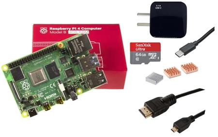 Kit Raspberry Pi 4 B 4gb + Fuente + HDMI + Mem 64gb + Disip