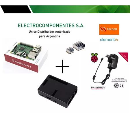 Kit Raspberry Pi 3 Element14 + 2.5a + Gab Jet Negro + Dis