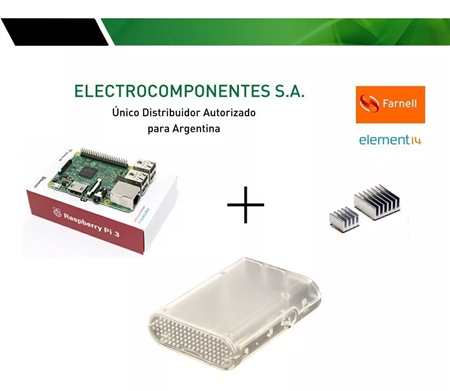 Kit Raspberry Pi 3 Element14 + Gab Jet Transparente + Disip