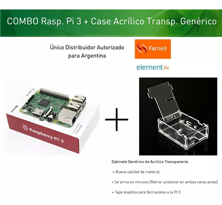 Kit Raspberry Pi 3 Element14 + Gabinete Transparente Acrílico