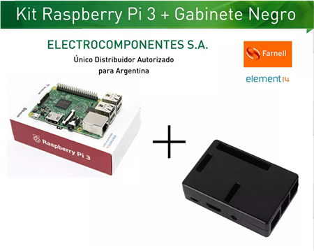 Kit Raspberry Pi 3 Element14 + Gabinete Negro
