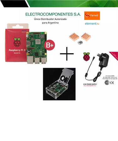 Kit Raspberry Pi 3 B+ Plus E14 Uk + 2.5a Gab Transp Dis Fan